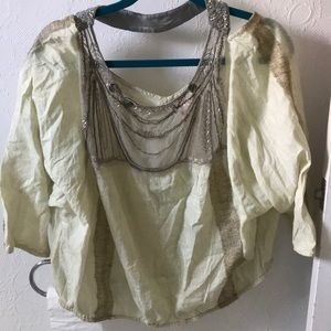 Free People cotton balloon sleeve beaded top sz L
